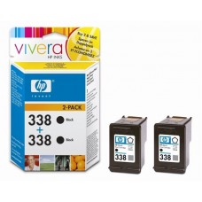 TWIN PACK CARTUS BLACK VIVERA NR338 CB331EE 11ML ORIGINAL HP DESKJET 6540